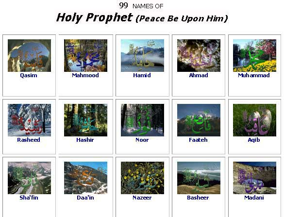 99 names of Holy Prophet (peace be upon him & his progeny ...