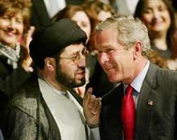 Image result for sayed hassan Qazwini kissing george bush